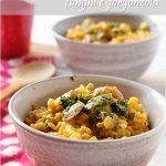 Risotto alla crema di zucca con funghi e gorgonzola