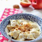 Ravioli alle pesche con crema di parmigiano e amaretti